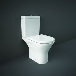 RAK Close Coupled Open Back to Wall Toilet Pan With Cistern & Soft Close Seat