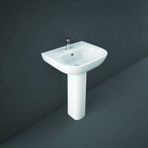 RAK-Tonique 550mm White Ceramic Basin with Full Pedestal Modern Bathroom