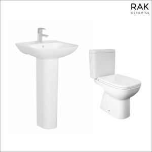 RAK-Origin Full Access Close Coupled Toilet & 520mm Basin Cloakroom Suite