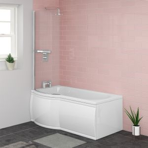 Energise 1500mm Left Hand P Shape Shower Bath with Screen and Panel