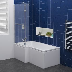 Live Shower Bath Right Hand -1700x850x700 with Panels and Screen