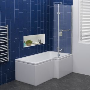 Live Shower Bath Right Hand -1500x850x700 with Panel and Screen