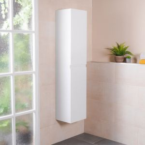 Tonic White Wall Mounted Right Hand Tall Bathroom Storage Unit