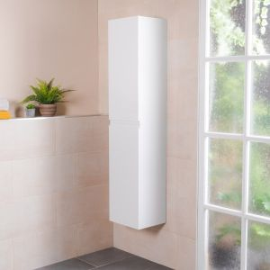Tonic White Wall Mounted Left Hand Tall Bathroom Storage Unit