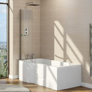 Lockwood 1675mm Right Hand Easy Access P Shape Walk In Shower Bath with Screen
