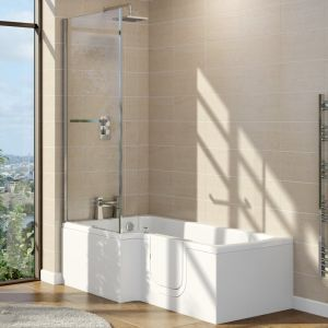 Marsden 1700mm Right Hand Easy Access L Shape Walk In Shower Bath with Screen