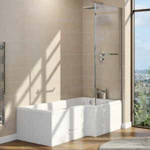 Marsden 1700mm Left Hand Easy Access L Shape Walk In Shower Bath with Screen