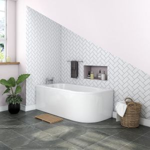 Yang Luxury J-shape 1700 x 750mm Left Hand Bath