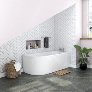 Yang Luxury J-shape 1700 x 750mm Right Hand Bath