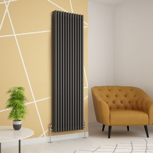 Warmehaus - Traditional Cast Iron Style Anthracite Double Column Horizontal Radiator 300 x 830mm - Perfect for Bathrooms, Kitchen, Living Room