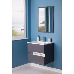Cubic Bathroom 600 Vanity Unit, Basin & Mirror - Grey