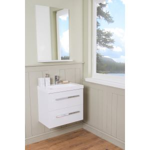 Vitalise Bathroom 600 Vanity Unit, Basin & Mirror - White