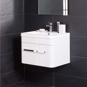 Homely White 600mm Wall Hung Vanity Unit & Basin with FREE Mirror