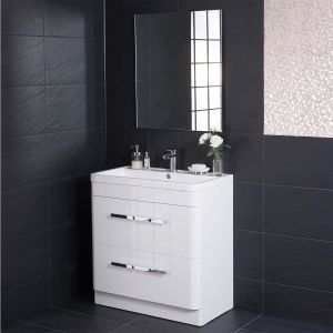 Homely Bathroom 800 Floor Standing Vanity Unit, Basin & Mirror - Round corner, white