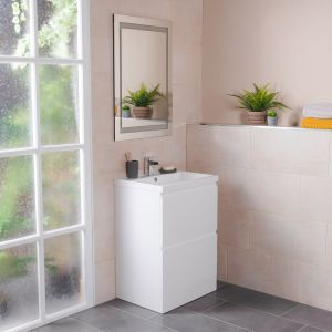 Tonic Bathroom 600 Floor Standing Vanity Unit, Basin & Mirror - White