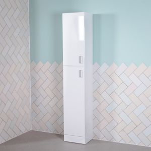 Designer White Gloss 1900mm Tall Bathroom Furniture Storage Tallboy Cabinet Unit