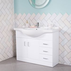 Absolute 1050 Bathroom Vanity Unit & Basin - White