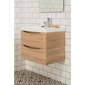 Peace Light Oak 600mm Wall Hung Vanity & Basin