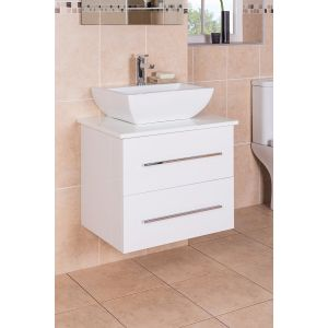 Vitalise White 600mm Wall Hung Vanity unit & Basin
