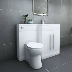 Calm White Right Hand Combination Vanity Unit Set with Toilet