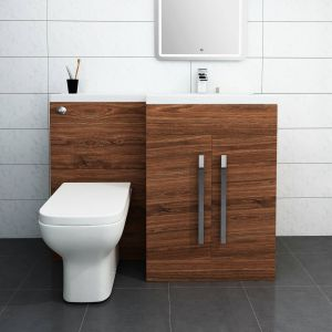 Calm Walnut Right Hand Combination Vanity Unit Set with Toilet
