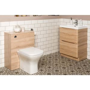 Peace Light Oak Vanity Unit & Back to Wall Toilet Suite