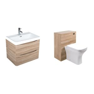 Peace Light Oak Wall Hung Vanity Unit  & Back to Wall Toilet Suite