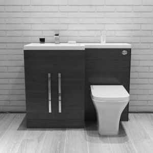 Calm Grey Left Hand Combination Vanity Unit Set with Toilet