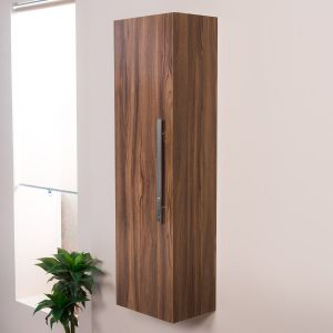 Milton Walnut Wall Mounted Tall Bathroom Storage Unit