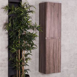 Harmony Oak Wall Mounted Tall Bathroom Storage Unit