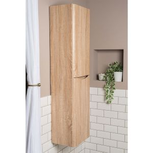 Peace Light Oak Wall Mounted Tall Bathroom Storage Unit