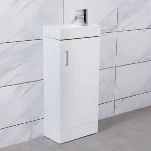 Linden White 400mm Cloakroom Vanity Unit & Basin