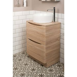 Peace Light Oak 600mm Vanity Unit & Kofu Countertop Basin