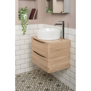 Peace Light Oak 600mm Wall Hung Vanity Unit & Kofu Countertop Basin