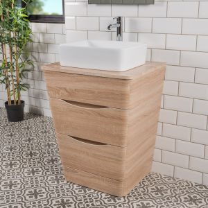 Peace Light Oak 650mm Vanity Unit & Seto Countertop Basin