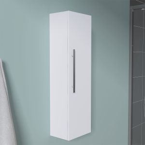 Calm White Wall Mounted Tall Bathroom Storage Unit