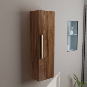 Calm Walnut Wall Mounted Tall Bathroom Storage Unit
