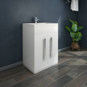 Calm White 600mm Freestanding Vanity Unit & Basin