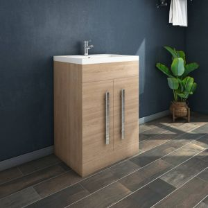 Calm Light Oak 600mm Freestanding Vanity Unit & Basin