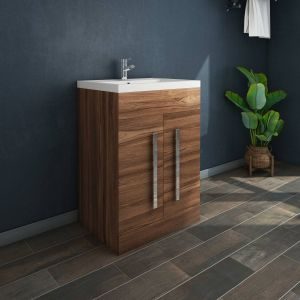 Calm Walnut 600mm Freestanding Vanity Unit & Basin