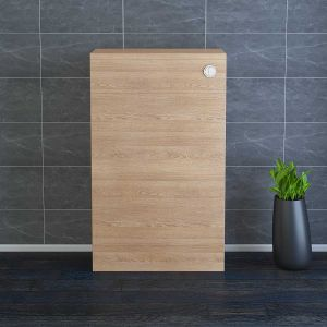 Calm Light Oak Contemporary Rectangular Back to Wall Unit 500mm with Concealed Dual Flush Cistern (No Toilet/Pan)
