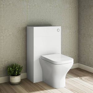 Calm White Back to Wall Unit with Concealed Cistern & Feel Curved Toilet