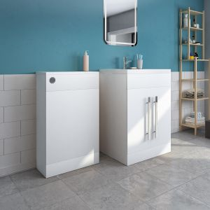 Calm White Freestanding Vanity Unit & Back to Wall Toilet Unit Set