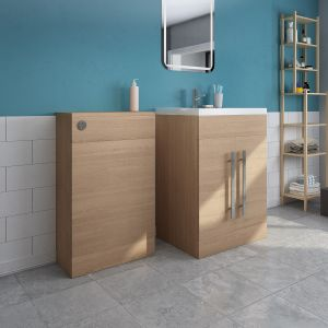 Calm Light Oak Freestanding Vanity Unit & Back to Wall Toilet Unit Set