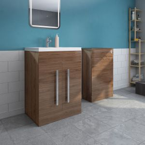 Calm Walnut Freestanding Vanity Unit & Back to Wall Toilet Unit Set