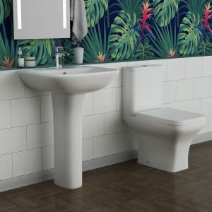 Feel Curved Close Coupled Toilet with 560mm Basin Cloakroom Suite
