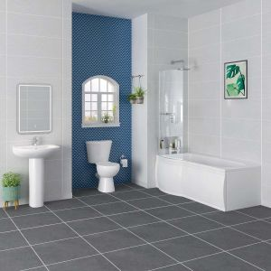 Splash Bathroom Suite with 1675mm Left Hand P Shape Shower Bath