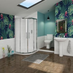 Feel Curved 900mm Quadrant Shower Enclosure Suite with Easy Clean Glass