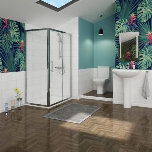 Feel Curved 1200mm Sliding Door Shower Enclosure Suite with Easy Clean Glass