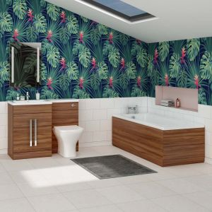 Feel Curved Bathroom Suite with LH Walnut Combi Vanity Unit